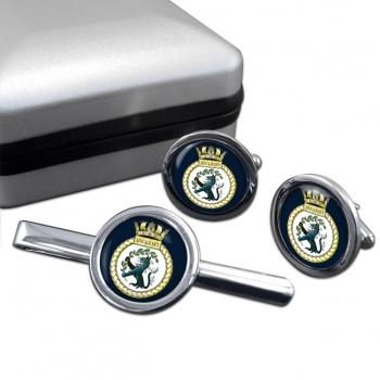 HMS Anglesey (Royal Navy) Round Cufflink and Tie Clip Set
