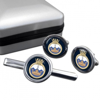 HMS Anson (Royal Navy) Round Cufflink and Tie Clip Set