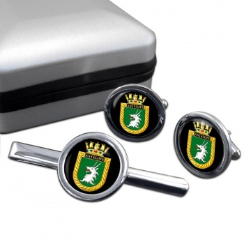 HMS Antelope (Royal Navy) Round Cufflink and Tie Clip Set