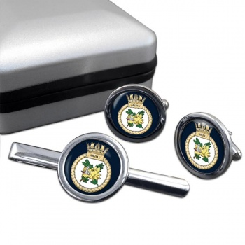 HMS Argyll (Royal Navy) Round Cufflink and Tie Clip Set