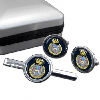 HMS Armada (Royal Navy) Round Cufflink and Tie Clip Set
