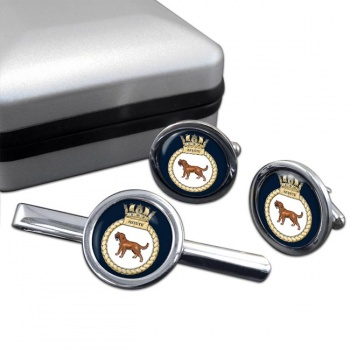 HMS Astute (Royal Navy) Round Cufflink and Tie Clip Set