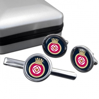 HMS Atherstone (Royal Navy) Round Cufflink and Tie Clip Set