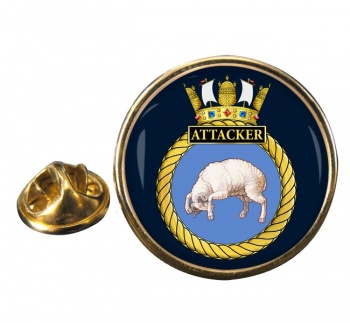 HMS Attacker (Royal Navy) Round Pin Badge