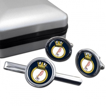 HMS Avenger (Royal Navy) Round Cufflink and Tie Clip Set