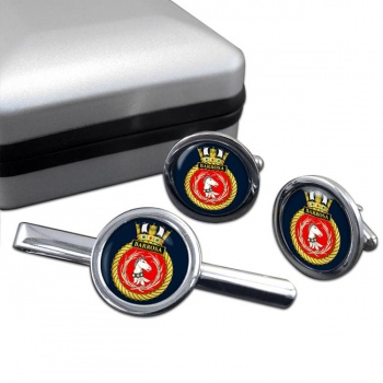 HMS Barrosa (Royal Navy) Round Cufflink and Tie Clip Set