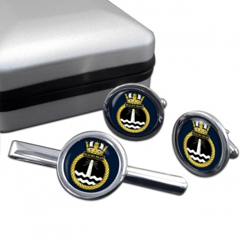 HMS Beachy Head (Royal Navy) Round Cufflink and Tie Clip Set
