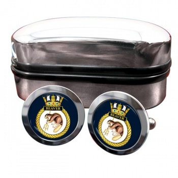 HMS Beaver (Royal Navy) Round Cufflinks