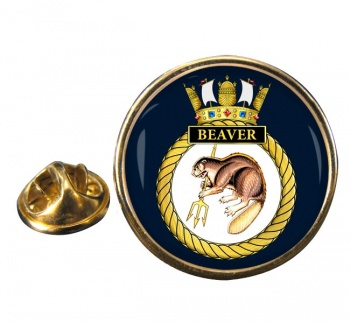 HMS Beaver (Royal Navy) Round Pin Badge