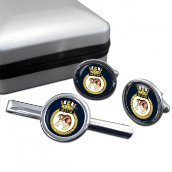 HMS Beaver (Royal Navy) Round Cufflink and Tie Clip Set