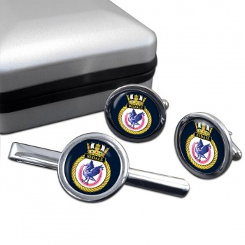 HMS Bedale (Royal Navy) Round Cufflink and Tie Clip Set