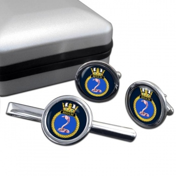 HMS Begum (Royal Navy) Round Cufflink and Tie Clip Set