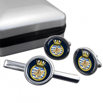 HMS Bellerophon (Royal Navy) Round Cufflink and Tie Clip Set