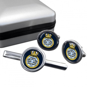HMS Berry Head (Royal Navy) Round Cufflink and Tie Clip Set