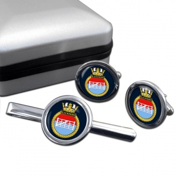 HMS Blackmore (Royal Navy) Round Cufflink and Tie Clip Set