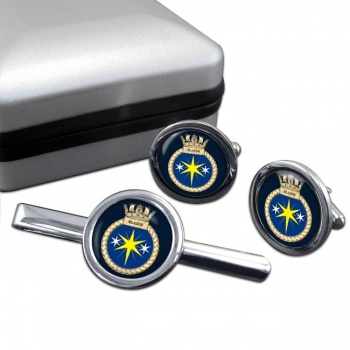 HMS Blazer (Royal Navy) Round Cufflink and Tie Clip Set