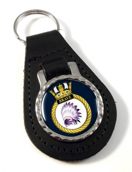 HMS Brave (Royal Navy) Leather Key Fob