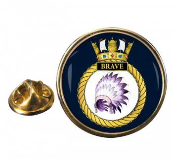 HMS Brave (Royal Navy) Round Pin Badge