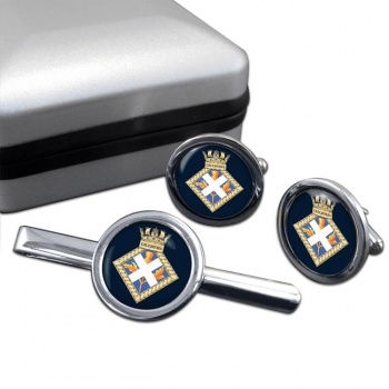 HMS Caledonia (Royal Navy) Round Cufflink and Tie Clip Set
