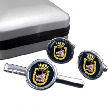 HMS Campbell (Royal Navy) Round Cufflink and Tie Clip Set