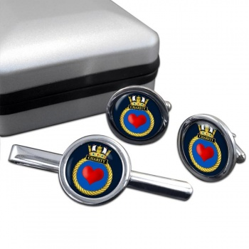 HMS Charity (Royal Navy) Round Cufflink and Tie Clip Set