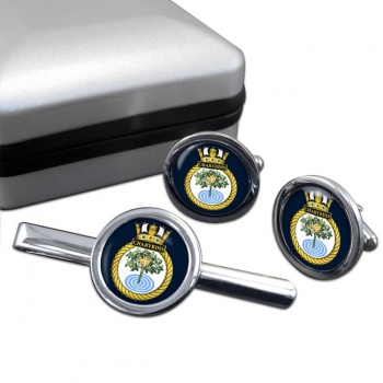 HMS Charybdis (Royal Navy) Round Cufflink and Tie Clip Set