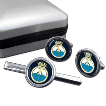 HMS Chatham (Royal Navy) Round Cufflink and Tie Clip Set