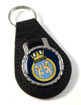 HMS Combatant (Royal Navy) Leather Key Fob