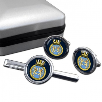 HMS Combatant (Royal Navy) Round Cufflink and Tie Clip Set