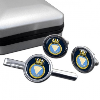 HMS Coquette (Royal Navy) Round Cufflink and Tie Clip Set