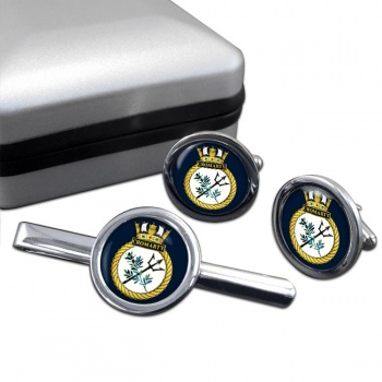 HMS Cromarty (Royal Navy) Round Cufflink and Tie Clip Set