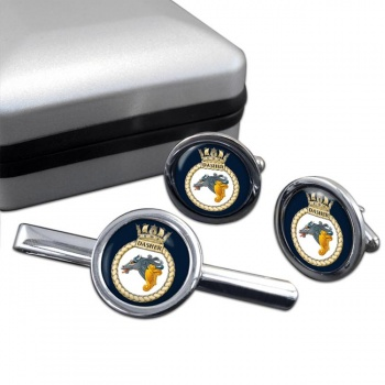 HMS Dasher (Royal Navy) Round Cufflink and Tie Clip Set