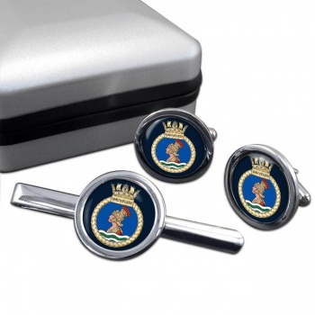 HMS Dauntless (Royal Navy) Round Cufflink and Tie Clip Set