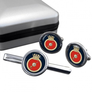 HMS Defender (Royal Navy) Round Cufflink and Tie Clip Set