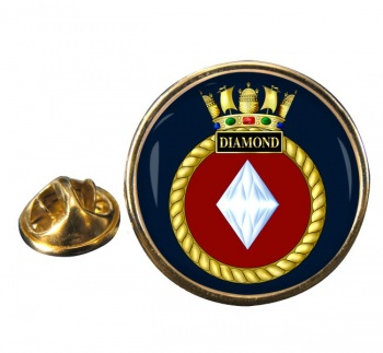 HMS Diamond (Royal Navy) Round Pin Badge