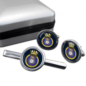 HMS Duke of York (Royal Navy) Round Cufflink and Tie Clip Set