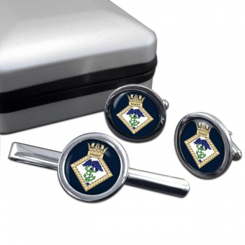 HMS Eaglet (Royal Navy) Round Cufflink and Tie Clip Set