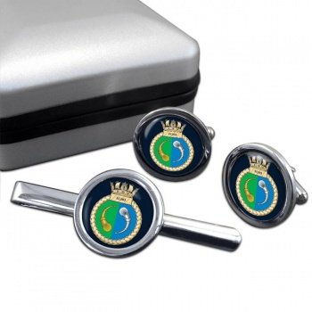 HMS Echo (Royal Navy) Round Cufflink and Tie Clip Set