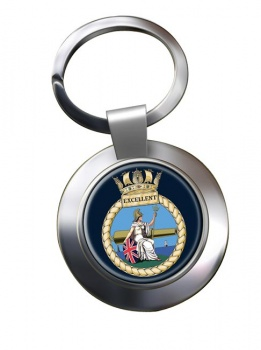 HMS Excellent (Royal Navy) Chrome Key Ring