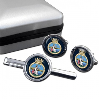 HMS Excellent (Royal Navy) Round Cufflink and Tie Clip Set