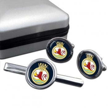 HMS Exeter (Royal Navy) Round Cufflink and Tie Clip Set