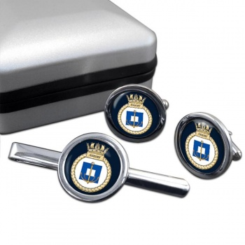 HMS Exploit (Royal Navy) Round Cufflink and Tie Clip Set