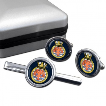 HMS Farnham Castle (Royal Navy) Round Cufflink and Tie Clip Set