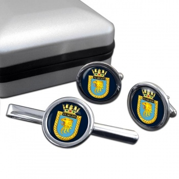 HMS Fearless (Royal Navy) Round Cufflink and Tie Clip Set