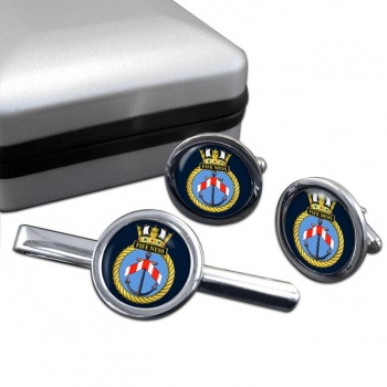 HMS Fife Ness (Royal Navy) Round Cufflink and Tie Clip Set
