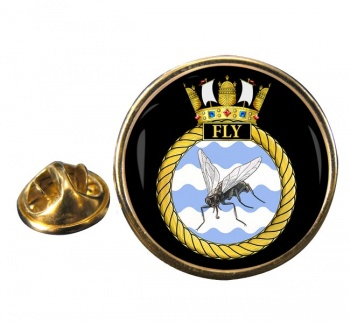 HMS Fly (Royal Navy) Round Pin Badge