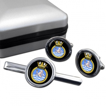 HMS Foam (Royal Navy) Round Cufflink and Tie Clip Set