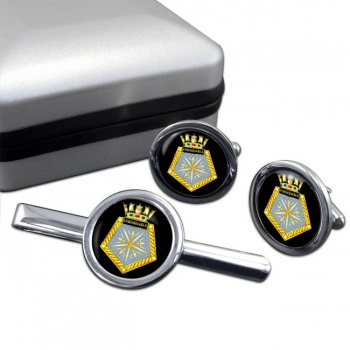 HMS Formidable (Royal Navy) Round Cufflink and Tie Clip Set