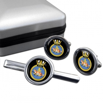 HMS Fox (Royal Navy) Round Cufflink and Tie Clip Set