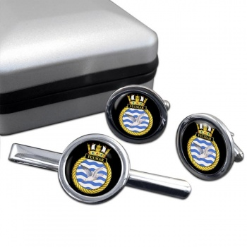 HMS Fulmar (Royal Navy) Round Cufflink and Tie Clip Set